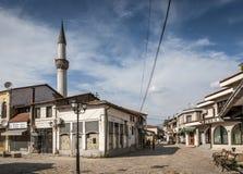 老斯科普里马其顿义卖市场老镇旅游区  免版税库存照片