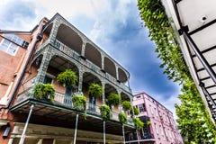 老新奥尔良房子用法语 免版税库存照片