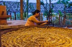 传统丝绸生产 免版税库存照片