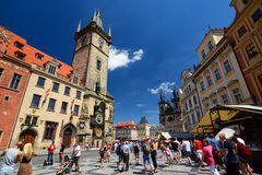 老方形城镇 布拉格 cesky捷克krumlov中世纪老共和国城镇视图 库存图片