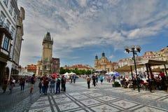 老方形城镇 布拉格 cesky捷克krumlov中世纪老共和国城镇视图 免版税图库摄影