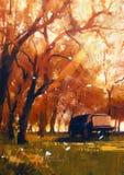 老旅行的搬运车在美丽的秋天森林里 库存图片