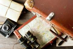 老旅行的设备 库存图片