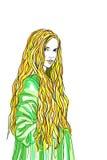 老时尚礼服的白肤金发的长的头发妇女夫人 免版税库存图片