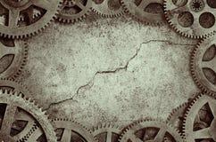 老时钟嵌齿轮框架 免版税库存图片