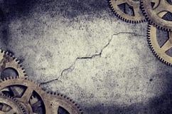 老时钟嵌齿轮边界 库存图片