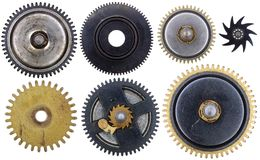 老时钟嵌齿轮 库存图片