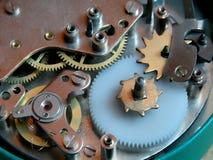 老时钟齿轮机构 图库摄影