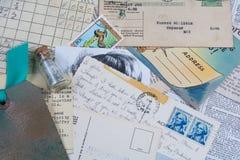 老明信片和收据拼贴画  免版税库存图片