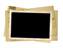 老明信片和老照片 背景查出的白色 库存图片