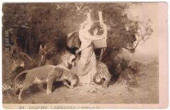 老明信片在1908年之间 法国 沙龙 免版税图库摄影