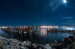 老普里斯科特码头在晚上 免版税库存照片