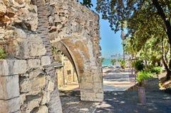 老曲拱在贾法角,以色列 免版税库存图片