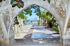 老曲拱在贾法角,以色列 免版税图库摄影