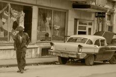 老朋友在古巴 库存照片