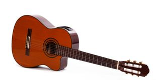 老木吉他被隔绝在背景 库存图片