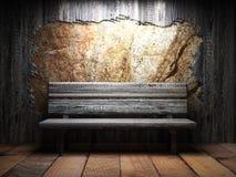 老木墙壁和长凳 免版税图库摄影