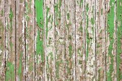 老木墙壁绘与淡绿色的颜色削皮显露了土气纹理 图库摄影