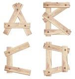 老木字母表信件由木板条做成 库存图片