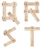 老木字母表信件由木板条做成 免版税库存照片