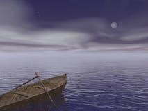 老木小船在晚上之前- 3d回报 向量例证