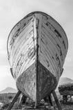老木小船弓特写镜头 免版税库存图片