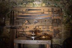 老木工艺工具 图库摄影
