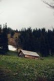 老木房子在喀尔巴阡山脉的森林里 免版税库存照片