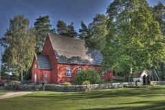 老木教会在从17世纪90年代的瑞典在HDR 免版税库存图片