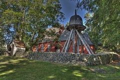 老木教会在从17世纪90年代的瑞典在HDR 库存照片