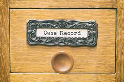 老木档案库文件目录抽屉,事例记录归档 免版税库存图片
