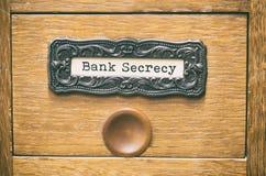 老木档案库文件目录抽屉,银行秘密归档 免版税库存图片