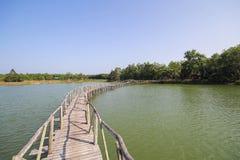 老木桥梁在Chumphon泰国湖  图库摄影