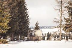 老木棚子在冬天 库存照片