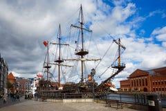 老木船在格但斯克,波兰 免版税库存照片