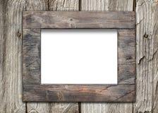 老木表面上的空的框架 免版税库存图片