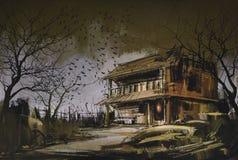 老木被放弃的房子,万圣夜背景 免版税库存照片