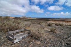 老木被放弃的箱子在沙漠 免版税库存照片
