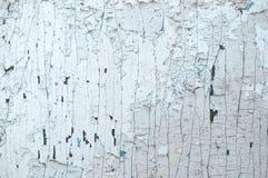 老木被绘的浅兰的土气背景,油漆削皮 库存图片