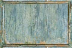 老木被绘的绿色框架 库存图片