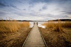 老木跳船,码头 免版税图库摄影