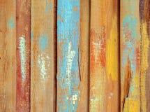 老木头被绘的五颜六色的板条表面  库存照片
