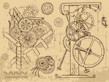老机制和机器在steampunk样式 免版税库存图片