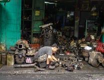 老机械工具工厂在曼谷,泰国 免版税图库摄影