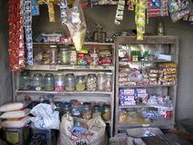 老杂货店在一个农村地方在Kumrokhali,西孟加拉邦 库存照片