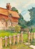 老村庄和树水彩 免版税库存照片