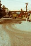 老村庄在冬天 免版税库存照片