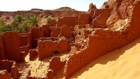 老村庄在撒哈拉大沙漠 免版税库存图片