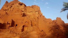 老村庄在撒哈拉大沙漠 库存照片