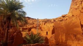 老村庄在撒哈拉大沙漠 库存图片